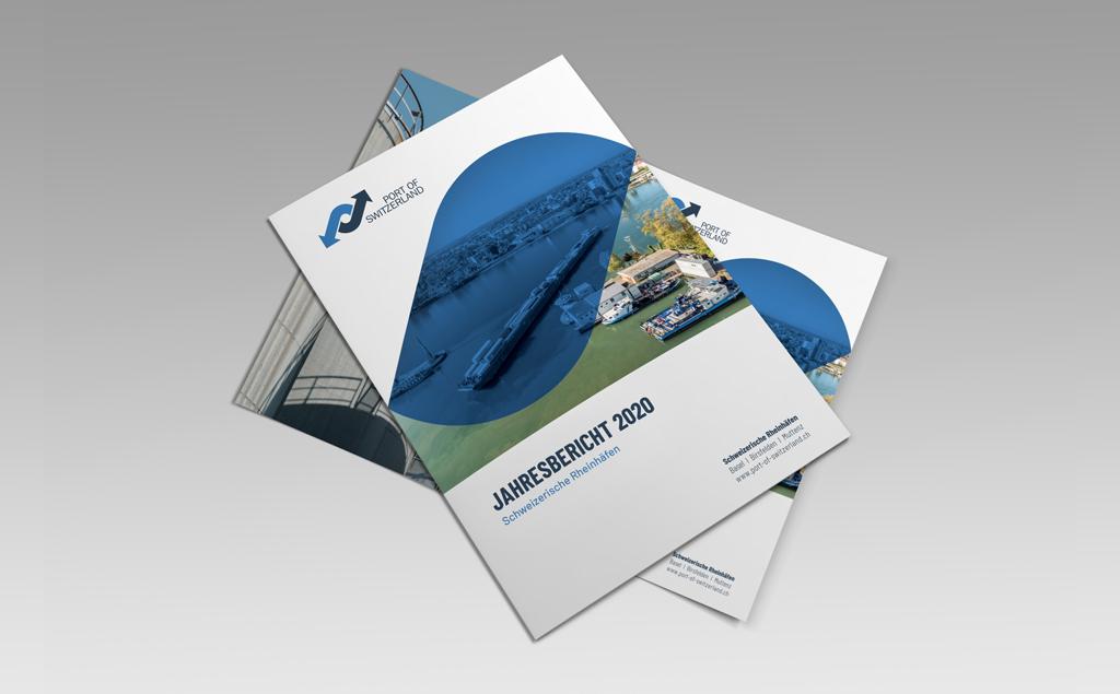 Mockup Jahresbericht Geschäftsbericht 2020 - Schweizerische Rheinhäfen - Port of Switzerland
